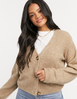 ASOS Design boxy cardigan with turn back cuffs in taupe