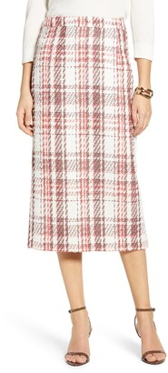 Halogen Plaid Tweed Pencil Skirt
