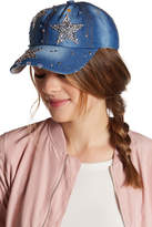 Cara Accessories Rhinestone Star Detail Denim Baseball Cap