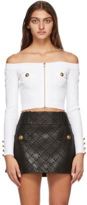 Balmain White Off-The-Shoulder Diamond Knit Cardigan