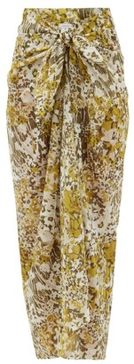 Marios Schwab On The Island By Floral-print Cotton-voile Sarong - Womens - Yellow Print