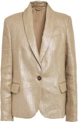 Brunello Cucinelli Bead-embellished Coated-linen Blazer