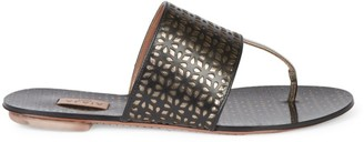 Alaia Laser Cut Leather Thong Sandals