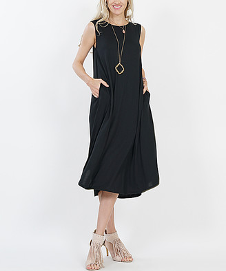Lydiane Women's Casual Dresses BLACK - Black Crewneck Sleeveless Curved-Hem Pocket Midi Dress - Women & Plus