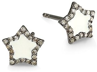 Nina Gilin 14K Black Rhodium Silver & Diamond Star Stud Earrings