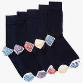 John Lewis Heel & Toe Stripe Socks, Pack Of 5, Multi