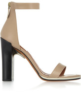 Givenchy Ruby Sandals With Gold Metal Details In Nude Leather With Contrasting Black Heels - Neutral