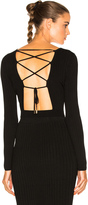 Cushnie et Ochs Long Sleeve Lace Up Back Crop Top