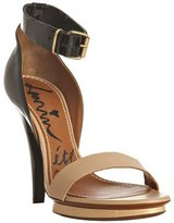 Lanvin black patent and nude leather ankle strap sandals