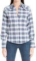 Max Studio Ruffled Plaid Shirt