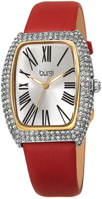 Burgi Women's Satin Over Leather Watch