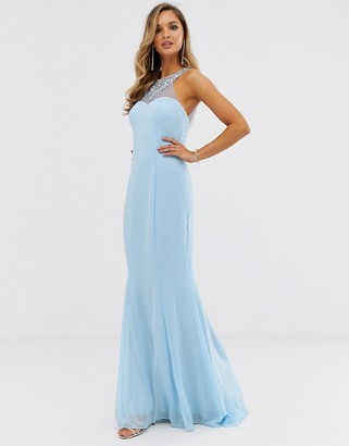 City Goddess high neck embellished detail maxi dress