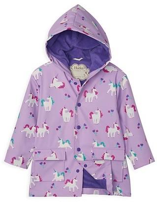 Hatley Little Girl's & Girl's Color Changing Playful Unicorn Raincoat