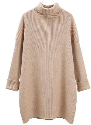 Goodnight Macaroon 'Melanie' Turtleneck Cuffed Sleeves Ribbed Knit Sweater Dress (6 Colors)