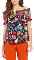 Trina Turk Relax Off-the-Shoulder Printed Top