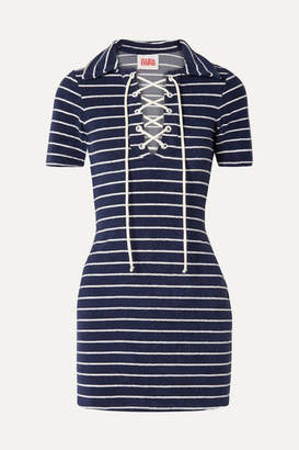 Solid & Striped The Polo Striped Cotton-blend Terry Mini Dress - Navy