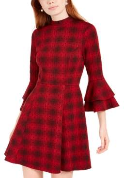 Sequin Hearts Juniors' Plaid Bell-Sleeve Knit Dress