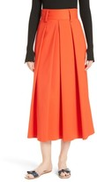 Tibi Women's Agathe High Waist Pleated Midi Skirt