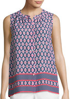 Liz Claiborne Sleeveless Border Print Button-Front Shirt - Tall