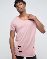Asos Super Longline T-Shirt With Distress And Scoop Neck In Pink