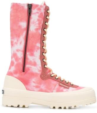Superga x Paura tie-dye boots