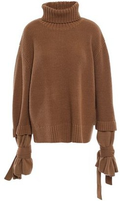 Mother of Pearl Luca Tie-detailed Ribbed Wool-blend Turtleneck Sweater
