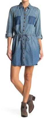 Love Stitch Waist Tie Patch Pocket Denim Shirt Dress