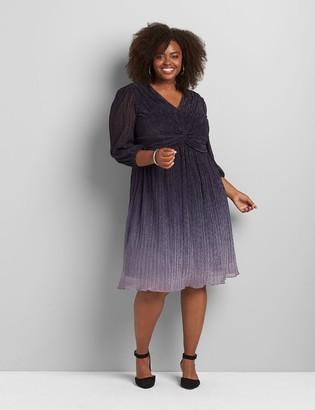 Lane Bryant Metallic Ombre Long-Sleeve Midi Dress