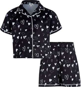River Island Girls Black heart print satin pyjama set