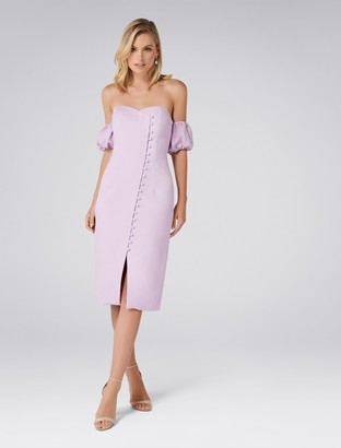 Forever New Lilly Off-Shoulder Linen Dress - Lilac - 16