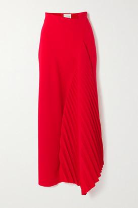 A.W.A.K.E. Mode Asymmetric Pleated Cady Maxi Skirt - Red