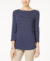 Charter Club Petite Striped Boat-Neck Top, Only at Macy's