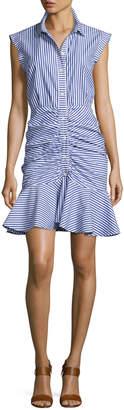 Veronica Beard Bell Sleeveless Striped Flounce Dress, Blue/White