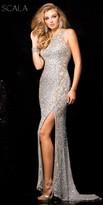 Scala Scroll Beaded High Slit Sequin Prom Dress