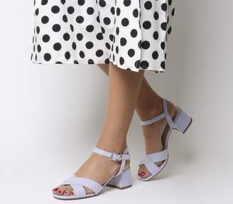 Office Muffin Cross Strap Block Heels Lilac