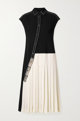 ANDERSSON BELL Paneled Jersey And Pleated Twill Midi Dress - Black