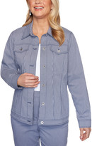 Alfred Dunner Women's Non-Denim Casual Jackets NAVYWHITE - Navy & White Gingham Jacket - Women, Petite & Plus