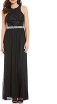 Xtraordinary High Neck Lace Bodice to Chiffon Beaded Long Dress