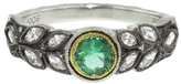 Cathy Waterman Emerald and Diamond Garland Ring - Platinum