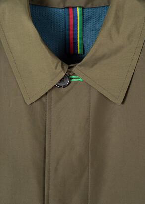 Paul Smith Men's Khaki Green Recycled-Polyester Mac