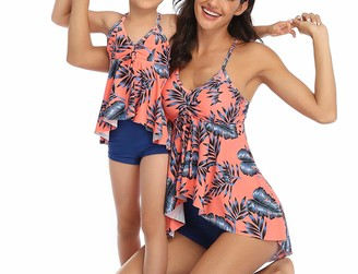 Huazong Ladies Vintage Floral Print Tankini Set High Waist 2 Pieces Swimsuit Bikini Family Matching Mum Daughter Swimwear (M
