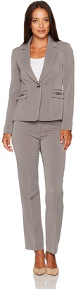Tahari by Arthur S. Levine Women's Petite Size Heather Grey Pebble Crepe One Button Pant Suit 12P