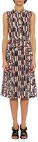 Bottega Veneta Sleeveless Chevron-Print Tie-Neck Dress, Multi