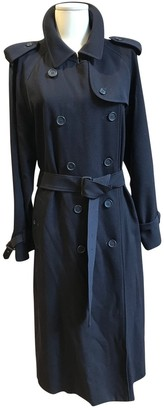 Burberry Navy Wool Trench Coat for Women Vintage