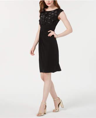 Connected Petite Floral-Applique Faux-Wrap Dress