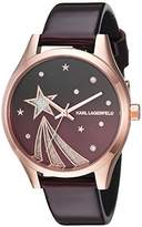 Karl Lagerfeld Women's 'Janelle' Quartz Stainless Steel and Leather Casual Watch, Color:Red (Model: KL1637)