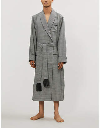 Derek Rose Lincoln houndstooth check wool dressing gown