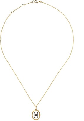 Annoushka 18kt yellow gold diamond initial H necklace