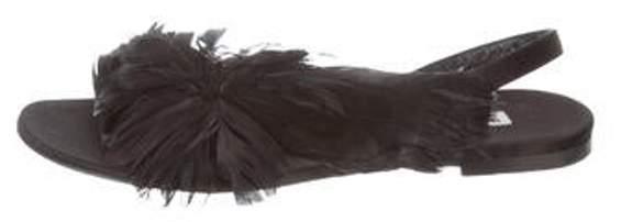 Balenciaga Feather-Embellished Slingback Sandals Black Feather-Embellished Slingback Sandals