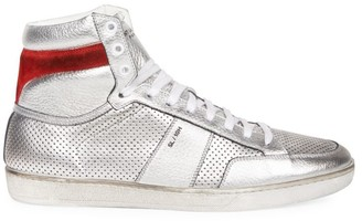 Saint Laurent Court Classic Perforated Metallic Leather High-Top Sneakers